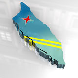 3d flag map of Aruba. 3d made flag map of Aruba Stock Image