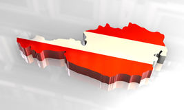 3d flag map of austria. 3d  made flag map of austria Royalty Free Stock Images