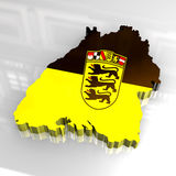 3d flag map of Baden Württemberg Royalty Free Stock Photography