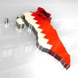 3d flag map of bahrain Stock Photo