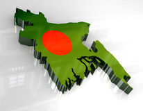 3d flag map of bangladesh Stock Image
