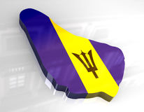 3d flag map of barbados Royalty Free Stock Image