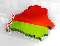 3d flag map of belarus Stock Image