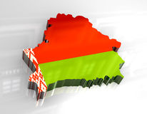 3d flag map of belarus Royalty Free Stock Images
