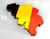 3d flag map of belgium Royalty Free Stock Photography