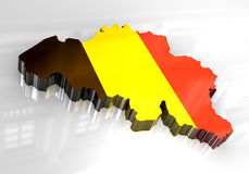 3d flag map of belgium Royalty Free Stock Photos