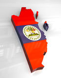 3d flag map of Belize Stock Image