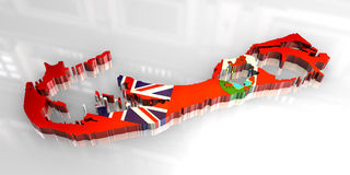 3d flag map of bermuda Royalty Free Stock Photo