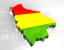 3d flag map of bolivia Stock Images