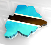 3d flag map of botswana Royalty Free Stock Photography