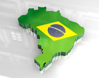 3d flag map of brazil Royalty Free Stock Photos