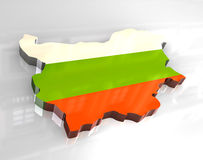 3d flag map of bulgaria Royalty Free Stock Images
