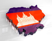3d flag map of cambodia Royalty Free Stock Photos