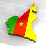 3d flag map of cameroon Stock Images
