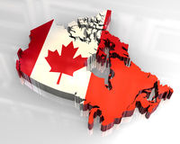 3d flag map of canada. 3d made flag map of canada Stock Photography