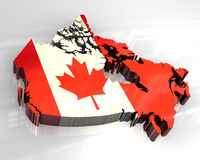 3d flag map of canada. 3d made flag map of canada Royalty Free Stock Photo
