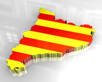 3d flag map of catalonia Stock Photography