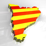 3d flag map of catalonia Stock Image