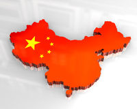 3d flag map of china Royalty Free Stock Photos