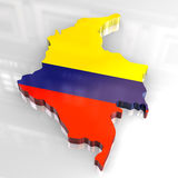 3d flag map of Colombia Stock Photography
