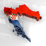 3d flag map of croatia Stock Image