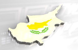 3d flag map of cyprus Royalty Free Stock Image