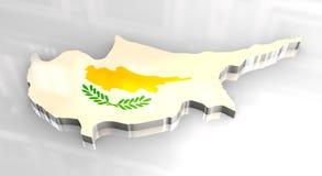 3d flag map of cyprus Stock Photos