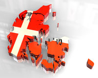 3d flag map of denmark Royalty Free Stock Photo