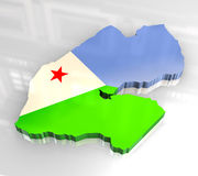 3d flag map of djibouti Royalty Free Stock Image