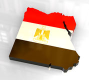 3d flag map of Egypt. 3d made flag map of Egypt Royalty Free Stock Image