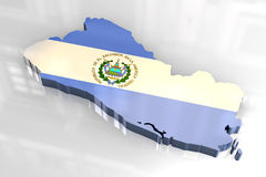 3d flag map of El Salvador Stock Image