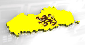 3D flag map of Flanders. 3D made  flag map of Flanders Stock Photos
