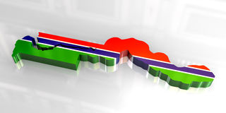 3d flag map of Gambia Stock Photography