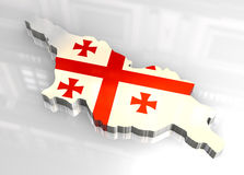3d flag map of Georgia Stock Photo