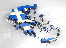 3d flag map of greece Stock Image