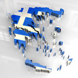3d flag map of greece Royalty Free Stock Images