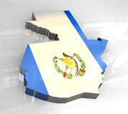 3d flag map of guatemala Royalty Free Stock Image