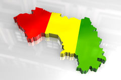 3d flag map of Guinea Royalty Free Stock Photos