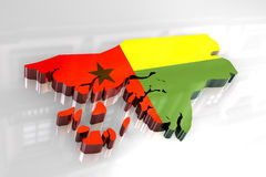 3d flag map of Guinea Bissau Stock Images