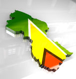 3d flag map of guyana Royalty Free Stock Image
