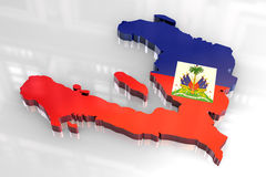 3d flag map of Haiti Stock Photography