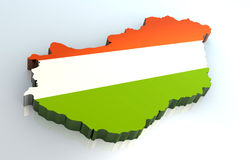 3d flag map of Hungary Stock Photos