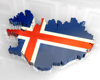 3d flag map of Iceland Stock Photo
