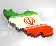 3d flag map of Iran Stock Image