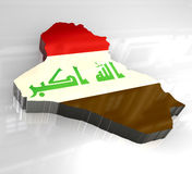 3d flag map of Iraq Stock Photos