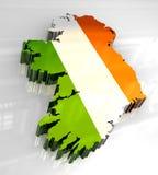 3d flag map of Ireland Stock Photo