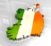 3d flag map of Ireland Stock Photography