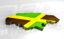 3d flag map of Jamaica Stock Image