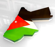 3d flag map of jordan Royalty Free Stock Photo