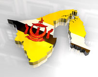 3d Flag Map Of Brunei Royalty Free Stock Image
